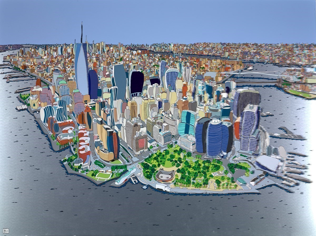 Bird's Eye, New York by Dylan Izaak -  sized 63x47 inches. Available from Whitewall Galleries
